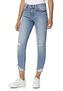 F&F Chewed Hem Relaxed Skinny Jeans - Light wash