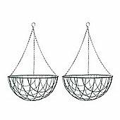 2 x 16-inch Green Metal Hanging Basket