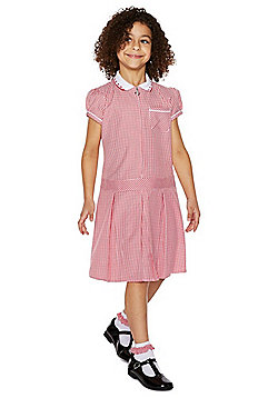 F&F School 2 Pack of Easy Care Plus Fit Gingham Dresses with Scrunchies - Red