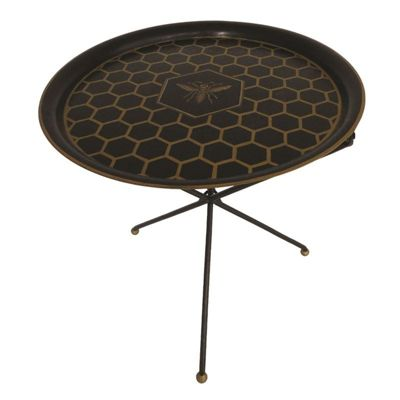 Black Honeycomb Handpainted Foldable Tray Table