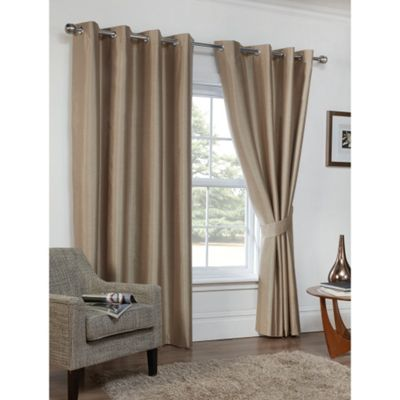 Hamilton McBride Faux Silk Eyelet Blackout Cappuccino Curtains - 90x72 Inches (229x183cm)
