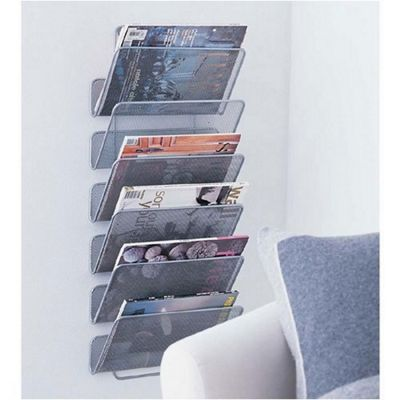 Design Ideas Mesh Wall Works 6 Shelf Hanging Office Organiser in Silver 351789