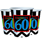 60th Birthday Cups - 255ml Paper Party Cups - 8 Pack