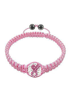 Breast Cancer Care - Tresor Paris Bracelet - White-Pink Crystal - Pink Cord - Ladies
