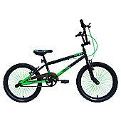"Tiger UCX2 20"" Alloy Wheel 10"" Hi-Ten Frame BMX Bike Black/Green"