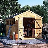 12x8 Tongue and Groove Wooden Workshop Garden Shed Double Door Windowed Apex Premium Roof Floor Felt - 12ftx8ft