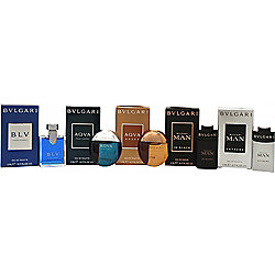 Bvlgari Men Miniature Collection Gift Set 5 x 5ml BLV Pour Homme EDT + 5ml Aqva Pour Homme EDT + 5ml Aqva Amara EDT + 5ml Man In Black EDP + 5ml Man