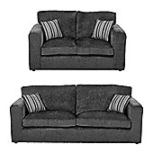 Taunton 2 Seater + 3 Seater Sofa Set, Dark Grey