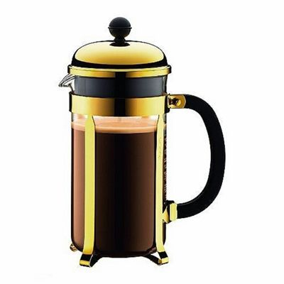 Bodum Chambord French Press 8-Cup Coffee Maker, Heat Resistant Borosilicate Glass, Gold, 1.0 Litre 34 Oz.