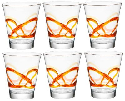 Bormioli Rocco Ceralacca Tumblers Glasses - 385ml - 13oz - Orange - Set of 6