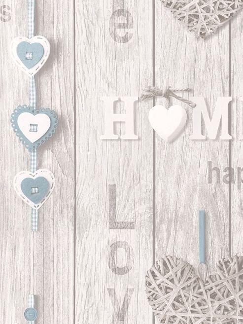 Fine Decor Love Your Home Wallpaper Blue FD41719