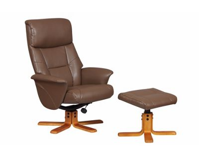 Toulon - Faux Leather Swivel Recliner Chair And Foot Stool-Truffle / Cherry Base