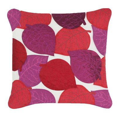 White Cushion Red Applique Leaves Contemporary Style