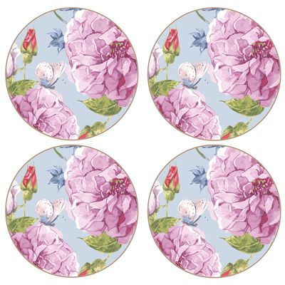 iStyle Round Rose Garden Coaster Set of 4