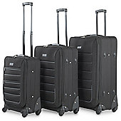 VonHaus Luggage Set. 3 pcs Fabric Suitcases with 4 Spinner Wheels for 360° Glide