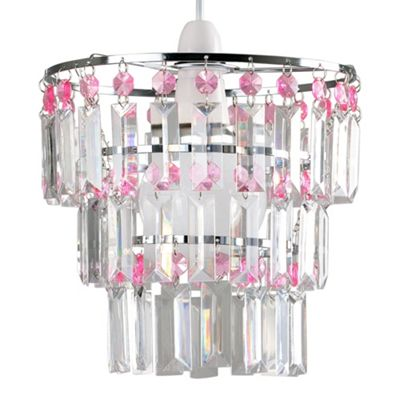 Kelsks 3 Tiered Ceiling Pendant Shade & Clear & Pink Droplets