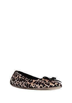 F&F Leopard Print Ballerina Slippers - Multi