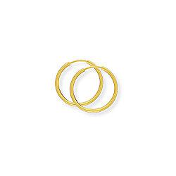 Jewelco London 9ct Yellow Gold - ExtraThin Sleeper - Earrings - 14mm