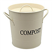 Harbour Housewares Metal Garden / Greenhouse Compost Bin - Cream