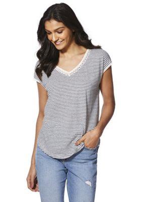 F&F Linen-Blend Striped Crochet V-Neck T-Shirt Navy/White 8