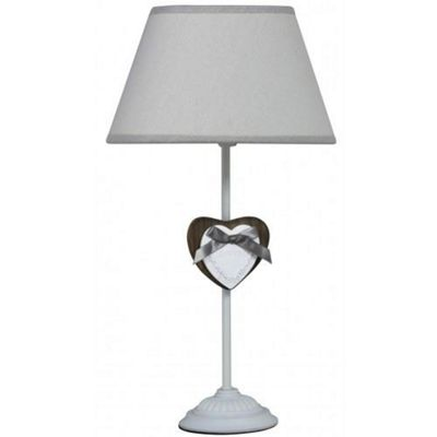 White Heart Table Lamp - Vintage Retro Style Lighting Decor