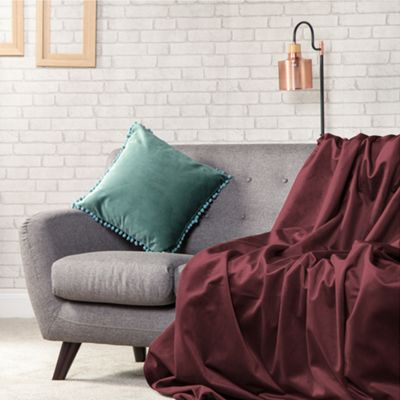 Burgundy Plush Velvet 140cm x 240cm Soft Throw Over - 1 Sided