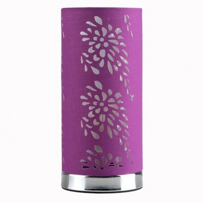 Touch Table Lamp, Chrome & Laser Cut Purple Shade