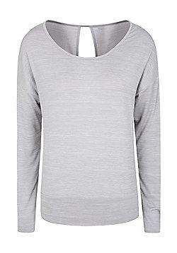 Mountain Warehouse Navasana Wrap Womens Tshirt with Anti-bacterial and IsoCool - Grey