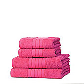 Dreamscene 100% Egyptian Cotton 4 Piece Hand Bath Towel Set - Fuchsia