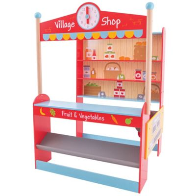 Bigjigs Toys Wooden Village Shop - Pretend Play and Role Play Toys
