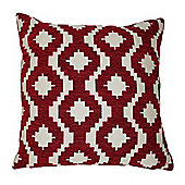 McAlister Soft Chenille Cushion Cover - Red Geometric Design