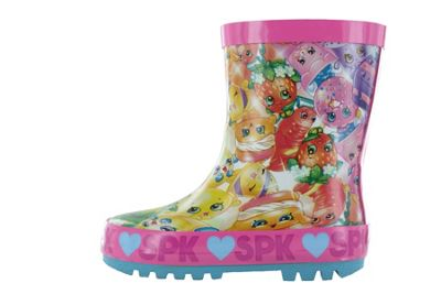 Girls Shopkins Pink Thick Rubber Wellies Snow Boots UK Child Size 9