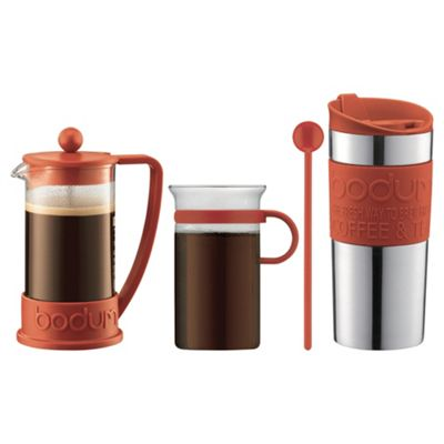 Bodum Cafetiere, Coffee and Travel Mug Gift Set, Red