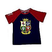 British & Irish Lions Rugby Kids Raglan T-Shirt - Navy & Red