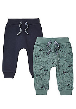 F&F 2 Pack of Woodland Print and Plain Cuffed Joggers - Green