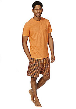 F&F Gingham Shorts Loungewear Set - Orange