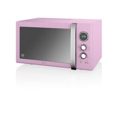 Swan SM22080 Retro 900W Digital Combi Microwave With Grill, 25L - Pink