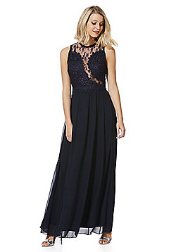 AX Paris Lace High Neck Maxi Dress - Navy