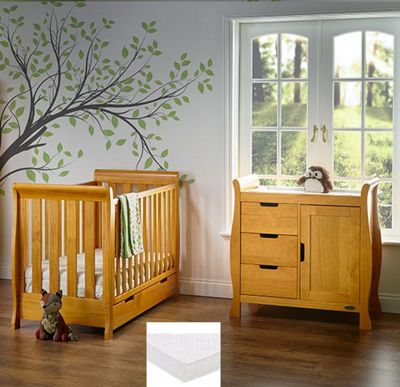 Obaby Stamford Mini Cot Bed 2 Piece/Sprung Mattress/Quilt and Bumper Nursery Room Set - Country Pine