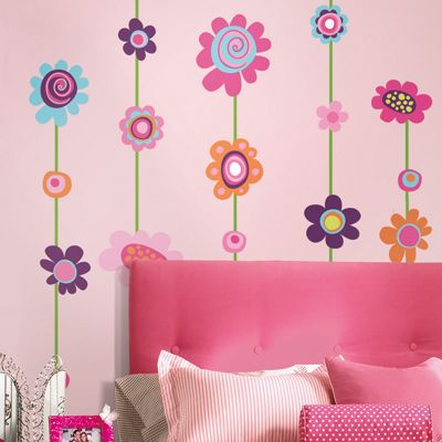 Flower Stripe Wall Stickers