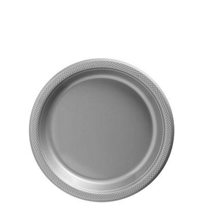 Silver Dessert Plates - 17cm Plastic - 20 Pack