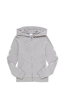 F&F Metallic Star Print Zip-Through Hoodie - Grey