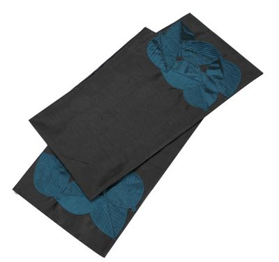 Charcoal and Sapphire Tropical Leaves Table Runner