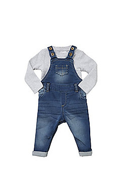 F&F Long Sleeve Bodysuit and Denim Dungarees Set - Grey & Blue