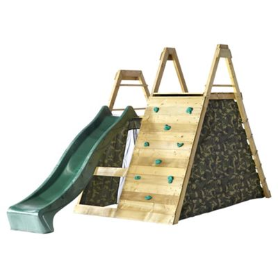 Plum Climbing Pyramid Wooden Climbing Frame Outdoor Play Centre with Play Den and Slide