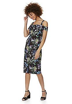 F&F Tropical Floral and Bird Print Scuba Bardot Dress - Black & Multi