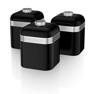 Swan Retro Set of 3 Canisters Black