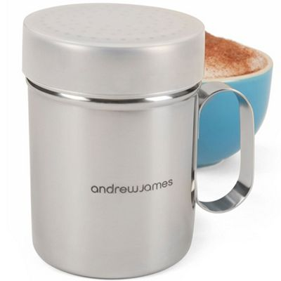 Andrew James Chocolate Shaker & Icing Sugar Duster with Plastic Protective Lid - Silver