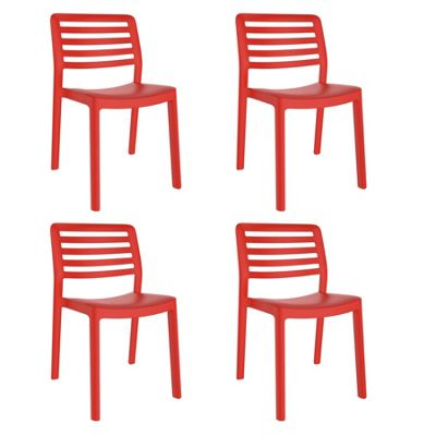 Resol Wind Designer Plastic Home Garden Dining Chair - Red - Pack of 4