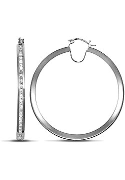 Jewelco London 9ct White Gold Channel Set CZ Hoops